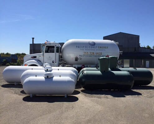 Above ground and under ground propane tanks for sale.
