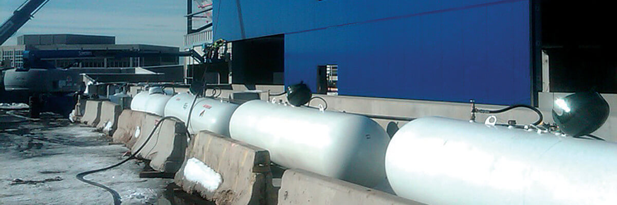 Propane storage tanks for temporary heating services